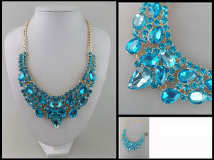 Aqua Blue Teardrop and Round Rhinestone Necklace