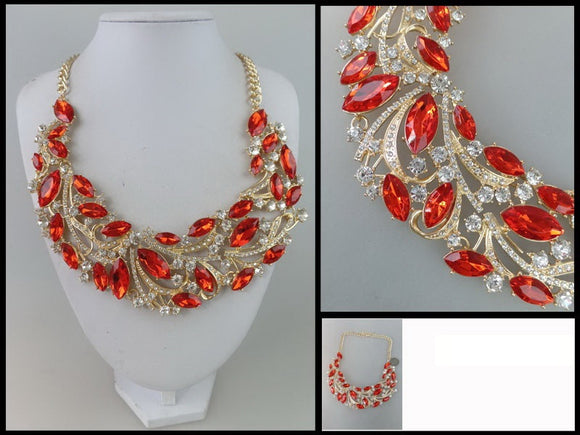 Red Marquise and Clear Stone Necklace