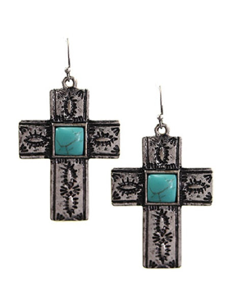 Burnish Silver and Turquoise Dangling Cross Earrings