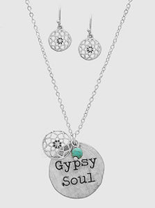 "Burnish Silver Necklace with ""GYPSY SOUL"" Charm and Matching Dangling Earrings"