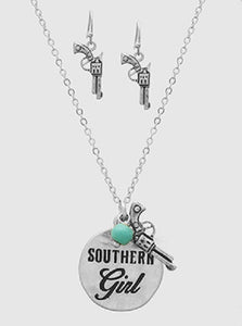 "Burnish Silver Necklace with ""Southern Girl"" and Gun Charm and Matching Dangling Earrings"