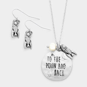 "Burnish Silver Necklace with ""TO THE MOON AND BACK"" Charm and Matching Dangling Earrings"