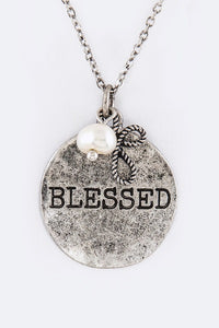 "Burnish Silver Necklace with ""BLESSED"" Charm and Matching Dangling Earrings"