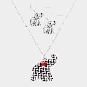 Houndstooth Elephant Enamel Charm Necklace with Silver Elephant Earrings ( 0790 )