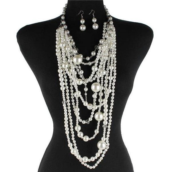 White Multi Layered Long Layered Pearl Necklace Set ( 0053 )
