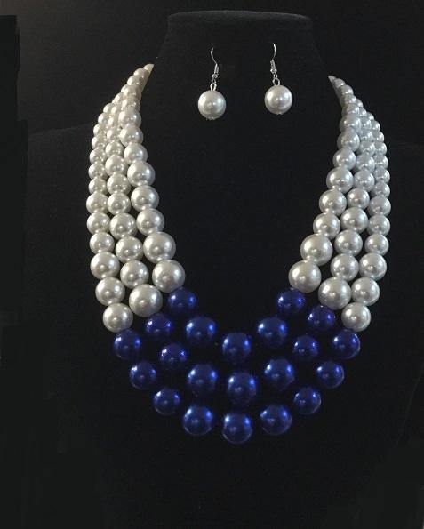 Blue and White 3 Layer Graduating Pearl Necklace with Silver Hardware ( 0058 )