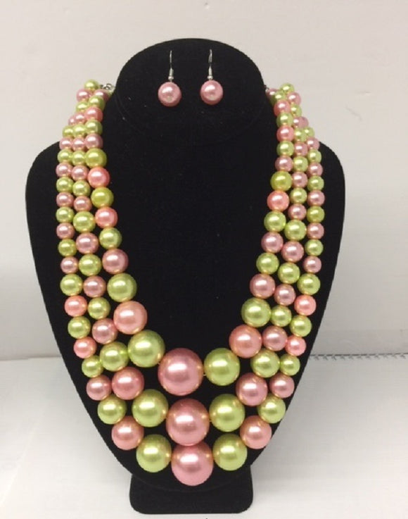 Pink and Green Pearl Beaded Multi Size 3 Layer Necklace with Earrings ( 0059 )