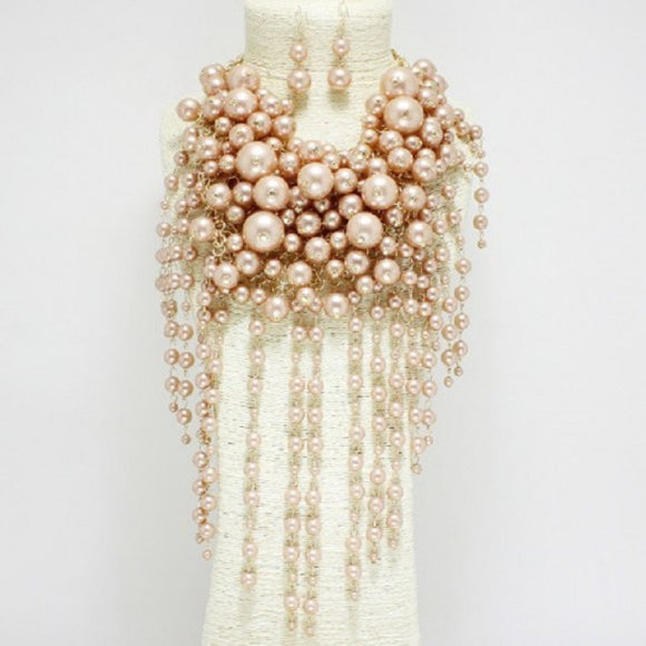 Champagne Fun Bubble Waterfall Pearl Statement Necklace with Matching Earrings on Gold Hardware ( 0062 )