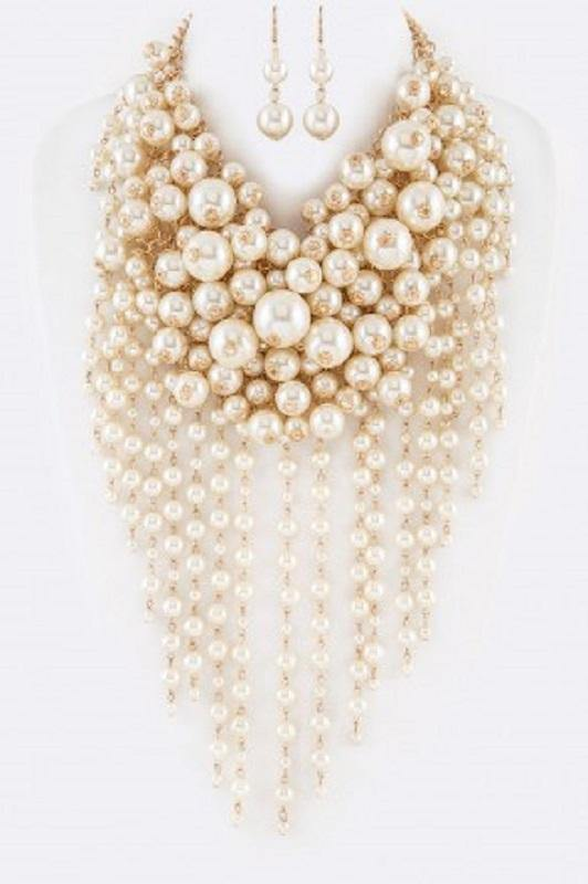 Cream Fun Bubble Waterfall Pearl Statement Necklace with Matching Earrings on Gold Hardware ( 0062 )