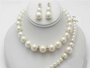 3 Piece Graduating Cream Pearl and Rhinestone Necklace Gold Set with Dangle Earrings ( 13727 GCR )