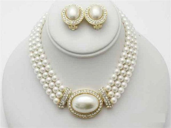 3 Line Cream Pearl Necklace Set with Oval Pendant and CLIP ON Earrings ( 13736 )