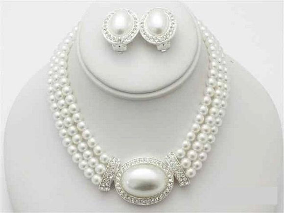 3 Line White Pearl Necklace Set with Oval Pendant and CLIP ON Earrings ( 13736 )