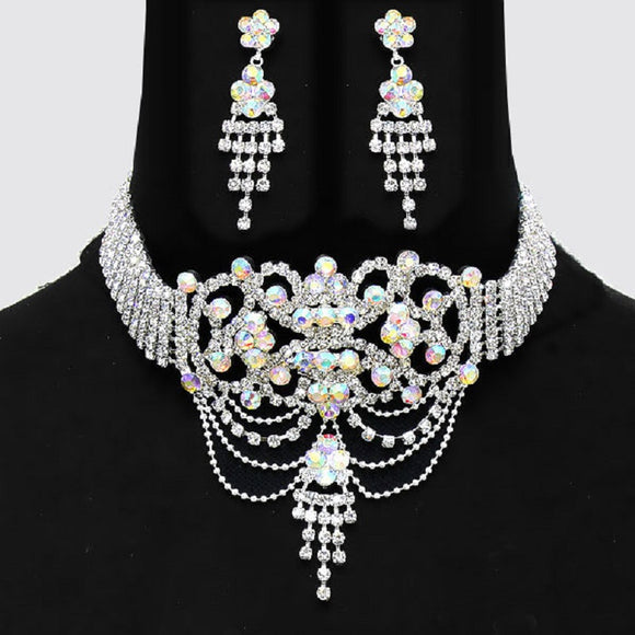 Silver Clear and AB Rhinestone Drop Choker Set ( 14888 )