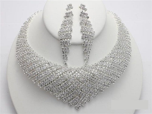 Silver Clear V Shape Rhinestone Necklace Set ( 16365 )