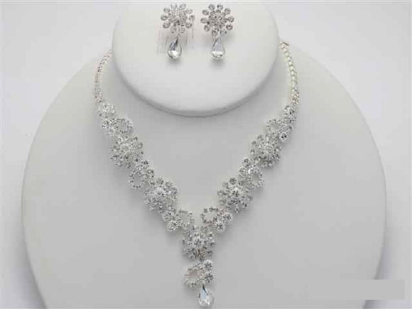 Silver Clear Rhinestone Flower Necklace Set ( 17532 )