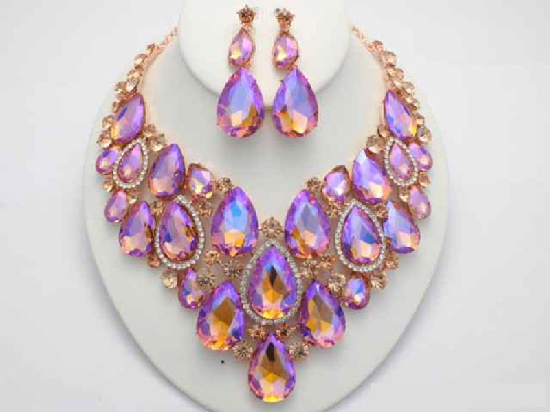 54d74b1b0881e Rose Gold Peach AB Teardrop Pave Formal Necklace Set ( 17886 ...