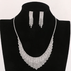 Silver Clear Rhinestone Fringe Necklace Set ( 17991 )