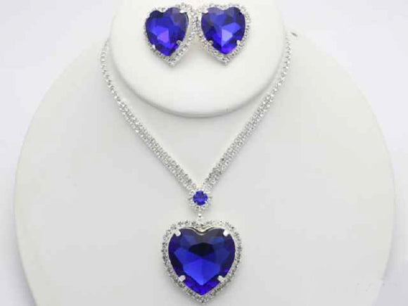 Silver Blue Stone Heart Shape Trimmed Pendant Necklace with Matching Stud Earrings ( 18369 )