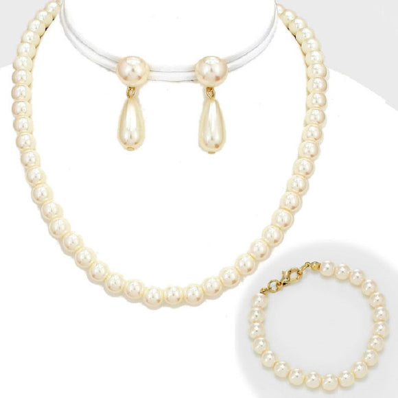 3 Piece 10mm Cream Pearl Necklace, Earrings, and Bracelet Set ( 3275 )