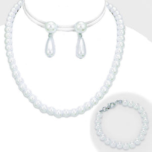 3 Piece 10mm White Pearl Necklace, Earrings, and Bracelet Set ( 3275 )