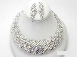 Silver AB U Design Rhinestone Necklace Set