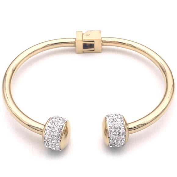 GOLD BANGLE CLEAR STONES ( 1607 R )