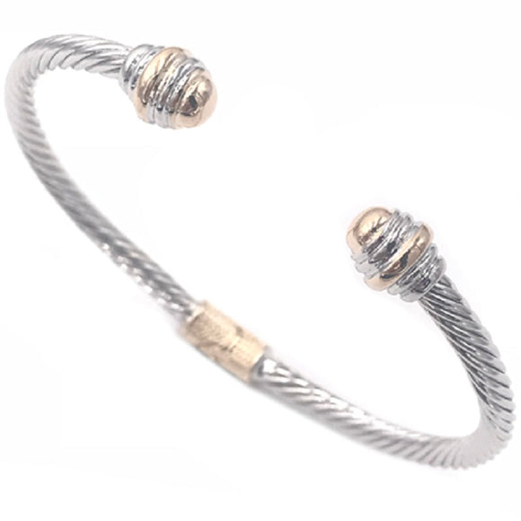 SILVER GOLD CABLE CUFF BANGLE ( 2093 BK )