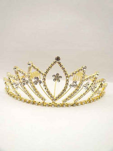 "2.5"" Gold Clear Rhinestone Crown Tiara ( 0915 )"