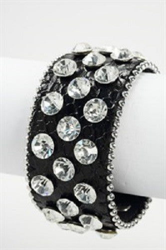 Black Leather Snap Bracelet with Large Clear Stones
