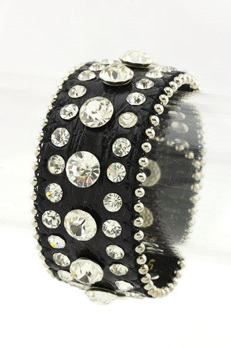 Black Leather Snap Bracelet with Clear Stones