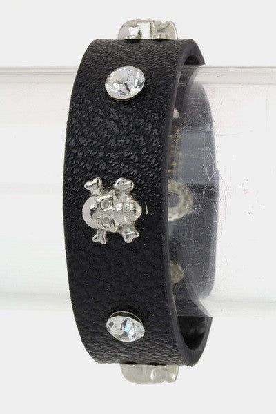 Black Leather Snap Bracelet with Small Silver Skull Studs