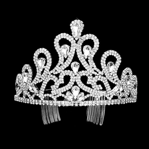 SILVER TIARA CLEAR STONES ( 0025 )