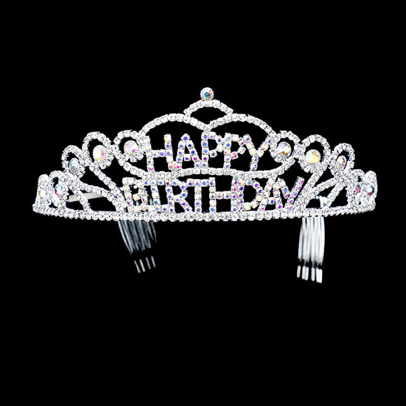 SILVER HAPPY BIRTHDAY TIARA AB STONES ( 1335 AB )