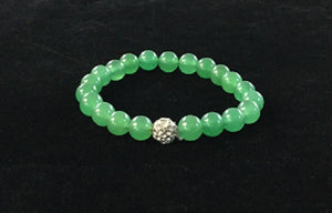 8mm Green and Pave Beaded Stretch Bracelet ( 2501 )