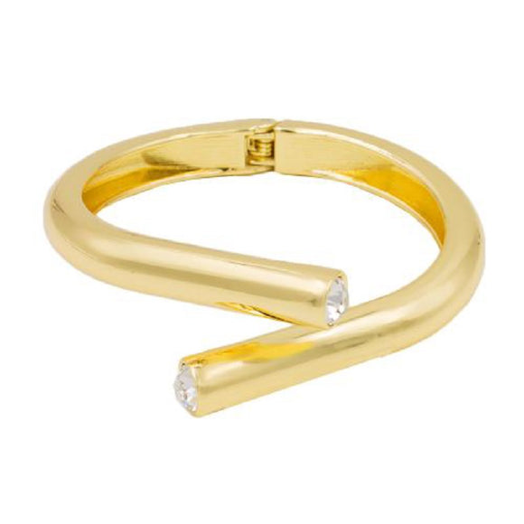 GOLD BANGLE WITH CLEAR RHINESTONE ( 5392 )