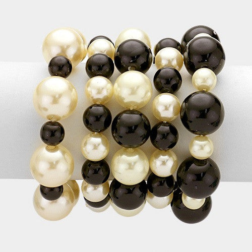 Black and Cream Five Layer Pearl Beaded Stretch Bracelets ( 5001 )