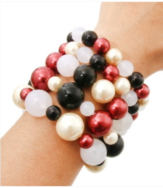 Black, White, and Red Five Layer Pearl Beaded Stretch Bracelets ( 5001 )