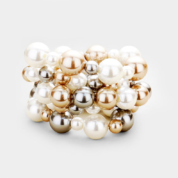 White, Light Brown, and Gray Five Layer Pearl Beaded Stretch Bracelets ( 5001 )