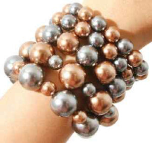 Gray and Brown Mix Five Layer Pearl Beaded Stretch Bracelets ( 5001 )