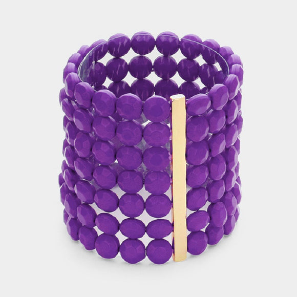 7 Layer Purple Round Facet Beaded Stretch Bracelet ( 5002 )