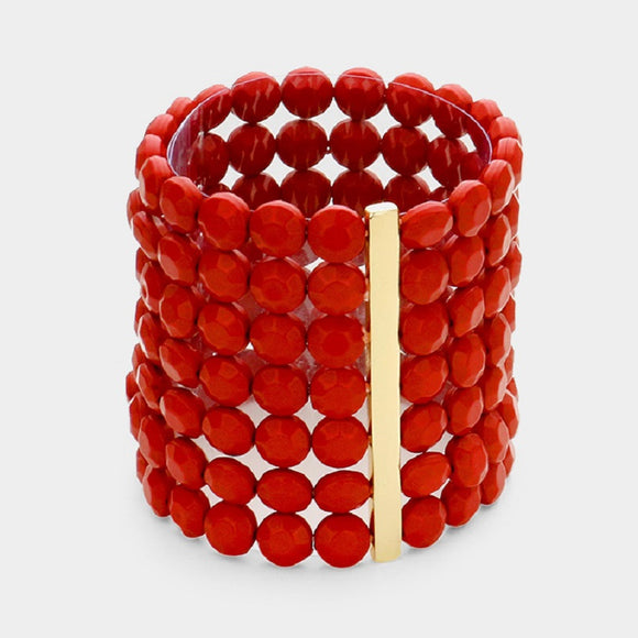 7 Layer Red Round Facet Beaded Stretch Bracelet ( 5002 )