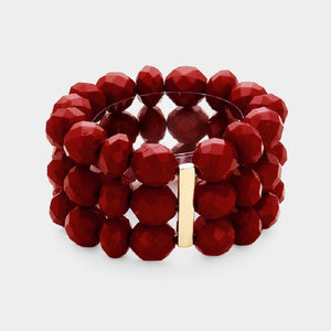 3 Layer Burgundy Red Facet Beaded Stretch Bracelet ( 5003 )