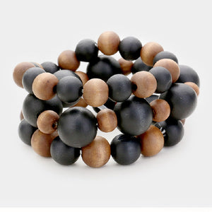 3 Layer Black and Brown Mix Wooden Beaded Stretch Bracelets ( 5018 )