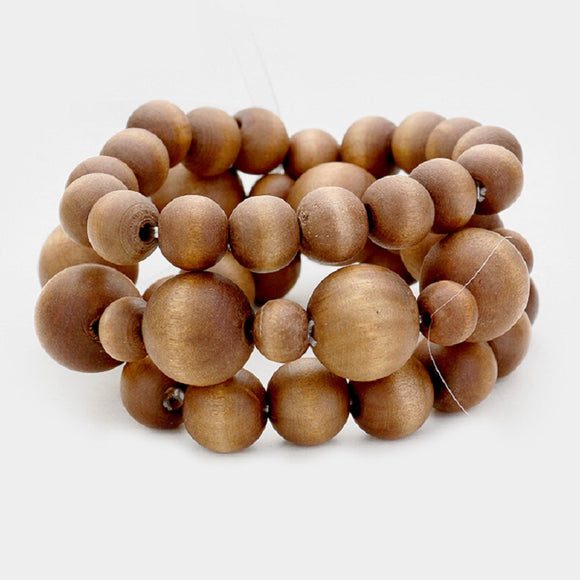 3 Layer Brown Wooden Beaded Stretch Bracelets ( 5018 )