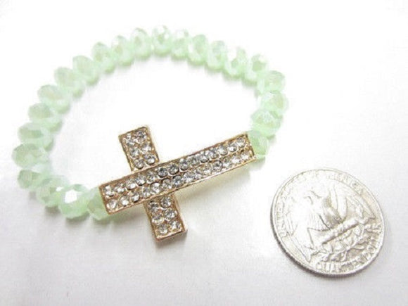 Mint Green Beaded Stretch Bracelet with Rhinestone Cross Set in Gold ( 3086 )