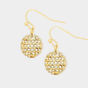 "1"" Gold Clear Dangling Rhinestone Ball Earrings"