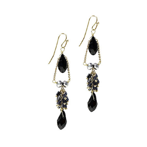Black Crystal and Gold Accent Drop Earrings ( 1043 )