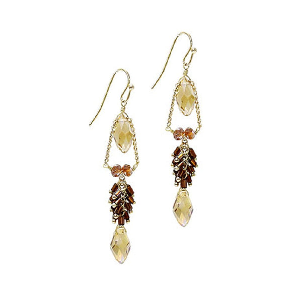 Brown Crystal and Gold Accent Drop Earrings ( 1043 )