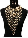 Black and Cream Waterfall Pearl Statement Necklace with Matching Earrings