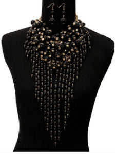 Black Waterfall Pearl Statement Necklace with Matching Earrings
